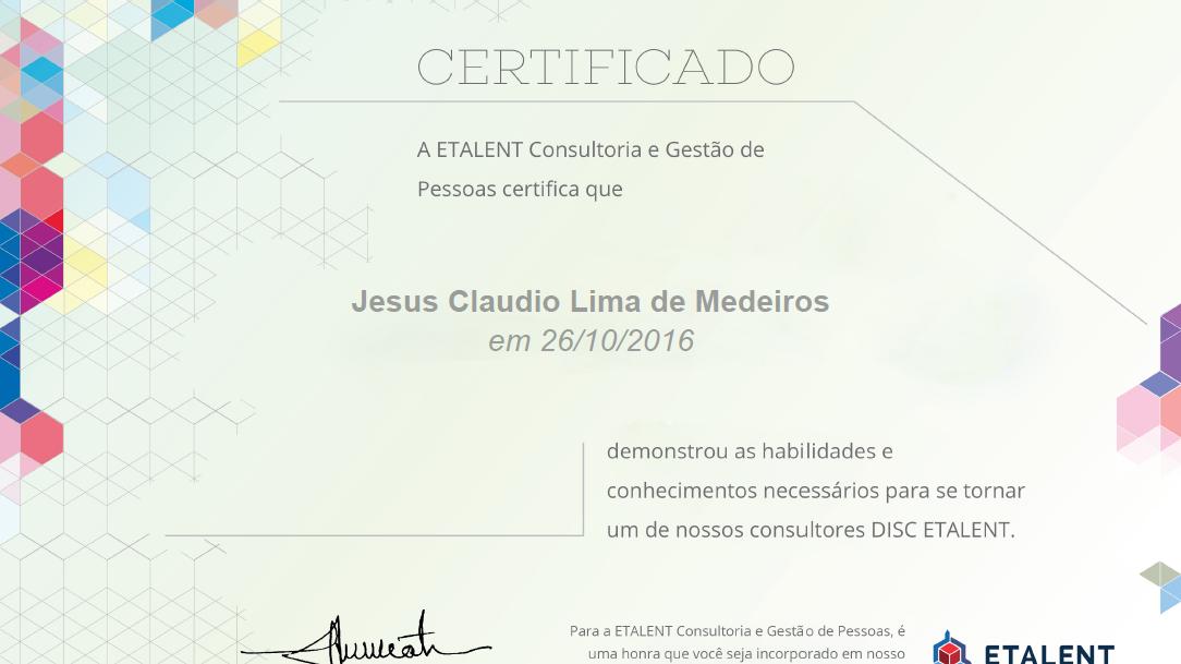 Certificado DISC ETALENT