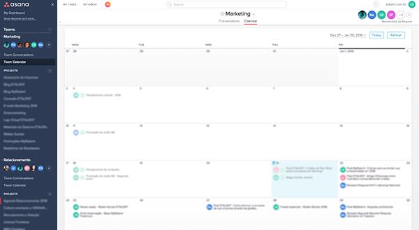 Calendário de Tarefas Asana | Produtividade